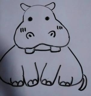 コビトカバ:食べ物を待っている子供のカバの絵